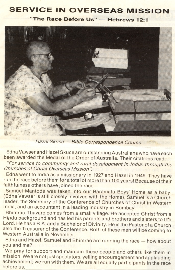 A report about the OAM's given to Hazel and Edna