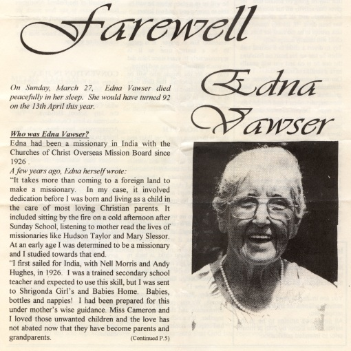 Write up in Australian Christian tells all of Edna's amzing life
