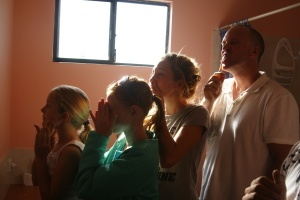 Line up to clean teeth
