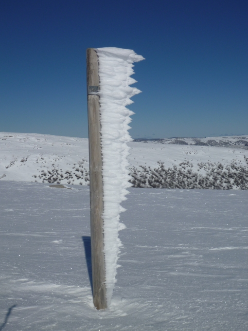 Ice on pole